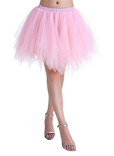 Karneval Damen 80er Übergröße Rosa Puffy Tüllrock Tütü Röcke Tüll Petticoat(MEHRWEG) (Rosa Damen Kostüm Übergröße)