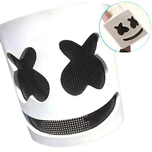 Marshmello-Maske DJs Full Head Helm, 7 Farben LED Latex Halloween Cosplay Maske Bar Musik Requisiten Marshmello Helm Music Festival Marshmallow Kopfmaske Neuheit für Halloween, Cosplay, Maske, Bar