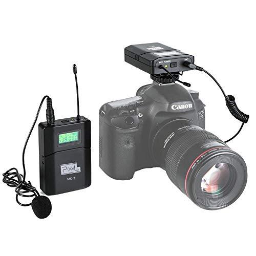 fotowelt Kabellos Lavalier Mikrofon Set Wireless Ansteckmikrofon für Camcorder, DSLR-Kameras Sprache Vortrag Bühnen Aufführung (MK-7)