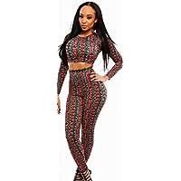 & donna, colore: rosso, nero, fiori & strisce, Set da 2 pezzi, Leggings, pantaloni di stile Casual Clothing UK Club Wear-Leggings, taglie comode da donna, taglia 40, confezione da 12