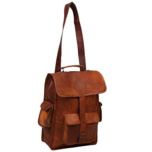 Desert Town® Unisex Echtleder 12 Liter BP113 Laptop-Rucksack, 30,5 x 40,6 cm, Braun -
