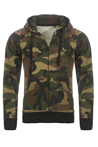 Happy Clothing Sudadera con Capucha para Hombre Camuflaje | Hoodie con Cremallera, Größe Textil:XL, Farbe:Verde