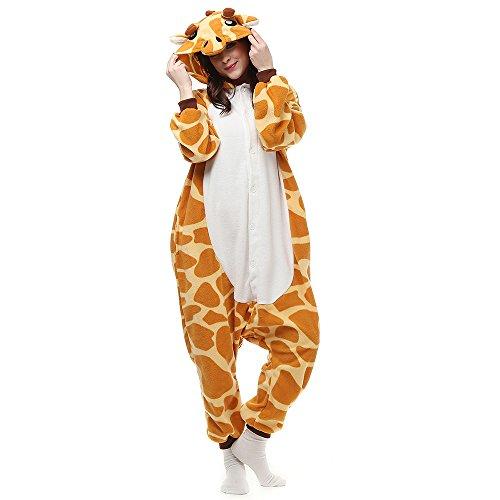 Erwachsene Unisex Kostüm Jumpsuit Onesie Tier Fasching Karneval Halloween kostüm Cosplay Schlafanzug, Giraffe, Orange, L(170cm-178cm)