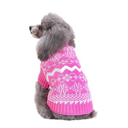 Amphia - Schneeflocke-Strickjacke des Haustierhundes hoher Kragen,Weihnachten Schnee Haustier Hund Katze Winter Turtle Neck Sweater Coat Costume Apparel Turtle Fur Fleece
