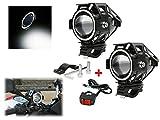 Faretti supplementari moto U7 LED angel eye bianchi fendinebbia moto faro anteriore per bici 3 modalità anabbagliante strobo 125w 3000lm luce bianca + pulsante interuttore on off