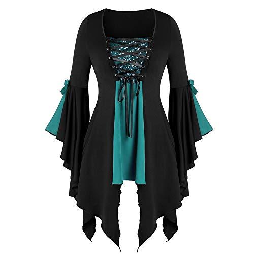 Aiserkly Damen Plus Size Gothic Tunika T Langarmshirts Pailletten Schnürbluse Hexenkostüm Cosplay Karneval Fasching Bluse Mittelalter T-Shirt Kleid Grün (Böse Hexe Des Westens Sexy Kostüm)