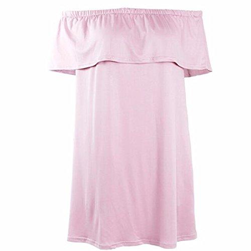 QIYUN.Z Donne Sexy Vestito Falbala Casuale Breve Barra Del Collo Senza Spalline Rosa