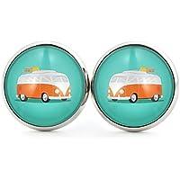 SCHMUCKZUCKER Damen Ohrstecker mit Retro Motiv Caravan coole Edelstahl Ohrringe silber-farben türkis