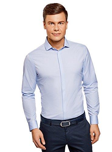 oodji Ultra Uomo Camicia Basic in Tessuto Strutturato Blu (7000N)