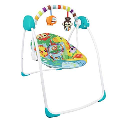 *Sotech Babywippe elektrisch 4 verschiedene schaukelfunktion, Babyschaukel mit Gestell, Schaukelwippe 80 x 76 x 54 cm inkl. Sicherheitsgurt, 2er Stofftiere,*