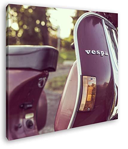 deyoli Vespa Motorrad in schöner Landschaft im Format: 40x40 als Leinwandbild, Motiv fertig gerahmt auf Echtholzrahmen, Hochwertiger Digitaldruck mit Rahmen, Kein Poster oder Plakat