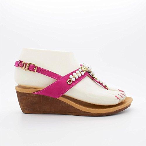 London Schuhe Ankita, Damen Sandalen mit Keilabsatz Rose