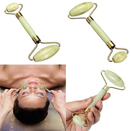 Steellwingsf Doppelkopf-Massage-Roller, Jade, Anti-Aging, Gesichts-, Augen-, Nacken- und Körperpflege-Werkzeug