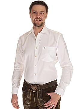 Almsach Herren Hemd langarm Trachtenhemd weiß mit Krempelarm