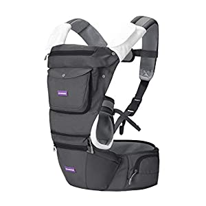 Clevamama Ergonomic Baby Carrier - Adjustable Baby Carrier from Newborn to Toddler (3.5 - 15 kg),Grey   15