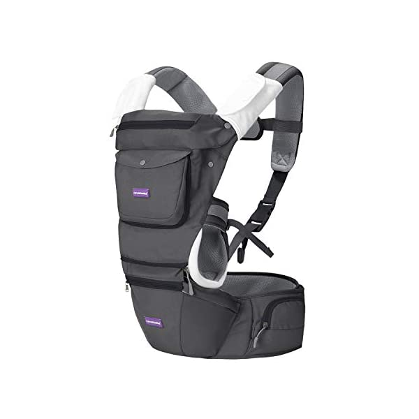 Clevamama Ergonomic Baby Carrier - Adjustable Baby Carrier from Newborn to Toddler (3.5 - 15 kg),Grey Clevamama Acknowledged by international hip dysplasia institute as hip healthy for your baby when used as directed Versatile for all occasions: front facing in, backpack style, side sling, frontal out and hip seat Provides complete support to baby and extra lumbar support to parent 1