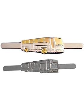 2 Bus Krawattennadel silbern matt + bicolor glänzend inkl. Geschenkboxen