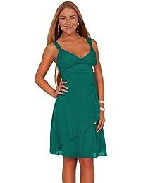 Flowy Feminie strass robe courte de cocktail de Halter V-Neck junior