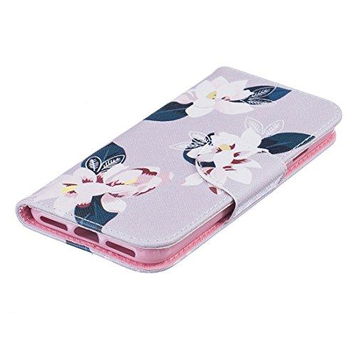Nancen Apple iphone 7 (4,7 Zoll) Premium Leder Flip Handyhülle / Wallet Case, Blumen Landschaften Tiere und Bunt Printed Muster - Bookstyle Cover Schutzhülle mit Standfunktion, Brieftasche und Karte T Lilie (2)