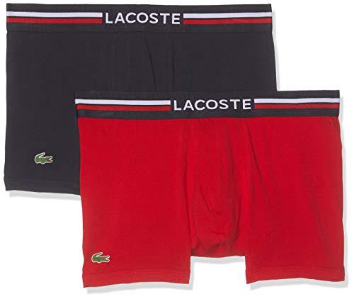 Lacoste Herren Ramc402 Unterhose, Mehrfarbig (Navy/Red 983), Medium (2er Pack)
