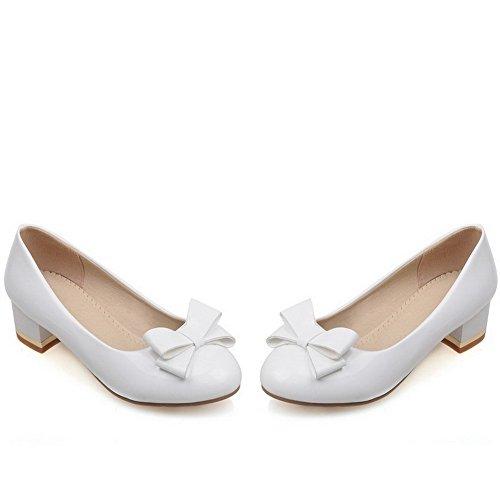 Calcanhar Puramente Agoolar Baixo Brancos Toe Cerca Para Senhoras Sapatos Bombas Puxar IqtZRddw