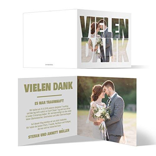 50 x Hochzeit Dankeskarten Danke Danksagungskarten Karten individuell - Fotoschrift