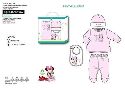 Suncity Conjunto bebé 4 Piezas. Diseño, Minnie o Mickey (Rosa o Azul) Varias Tallas (1M, Rosa)