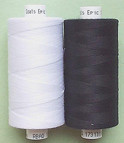 Coats Epic Nähfaden 1 x schwarz + 1 x weiß 1000 m-Rollen Allesnäher Stärke 120 (0,004€/m)