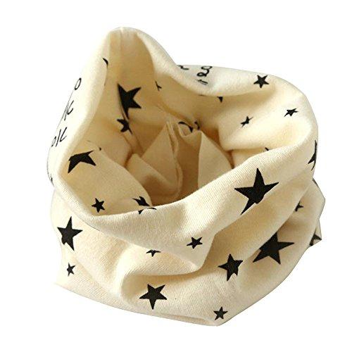 Kinder Loop Schlauchschal FORH Warm weich Baumwolle Schal Unisex Junge Mädchen Sterne muster mode Schal Winter Basic Halstuch ultraleichte Rundschal viele Bunte Farben (Beige 40 * 37cm)