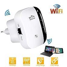 laxikoo WLAN Repeater, WLAN Verstärker 300Mbit/s 2,4GHz Wireless WiFi Range Extender WiFi Signalverstärker mit WPS Taste/Repeater/Access Point-Modus EU-Stecker Kompatibel mit Allen WLAN Geräte - Weiß