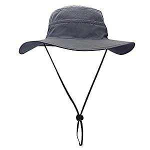 1f5efd7a3f2f6 Egoz  Coconut  Sun Hat Outdoors UV Protection Wide Brim Boonie Travel Cap  Breathable Hunting Fishing Safari Cowboy Hats (Grey)  Amazon.co.uk  Sports    ...