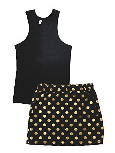 petitebelle Uni Schwarz Baumwolle Weste Gold Polka Dots ROCK Outfit–74bis 122 Gr. Large, schwarz (Dots Baumwolle Rock Polka)