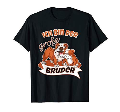 Kinder Ich Bin Der Große Bruder T-Shirt - Bulldoggen Hunde (Ein Ich Kleiner Welpe Bin)