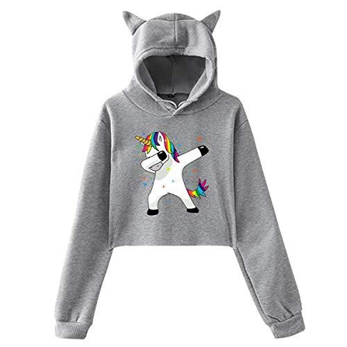Funny Magic Unicorn, Sommer Herbst Winter Fleece Damen Sportswear CAT Ear Cartoon Hoodie Kawaii K-Pop Kleidung Streetwear Hoodies Sweatshirt Lined Hooded Full Zip Sweatshirt