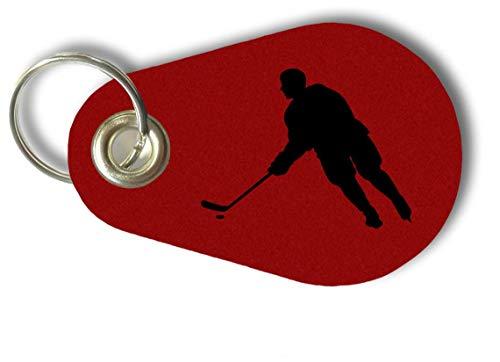 Samunshi® Schlüsselanhänger Eishockey Spieler aus Filz 9,5x6,5cm rot/schwarz -