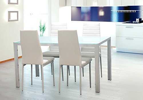 EBS® White Glass Dining Table and 4 Chairs Dining Room Furniture Set - Modern Design Faux Leather