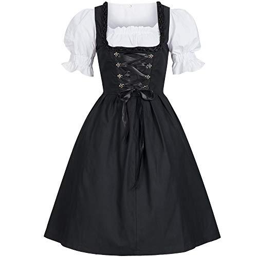 Bongossi-Trade Dirndl 3 TLG.Trachtenkleid Kleid, Bluse, Schürze, Gr. 42 schwarz