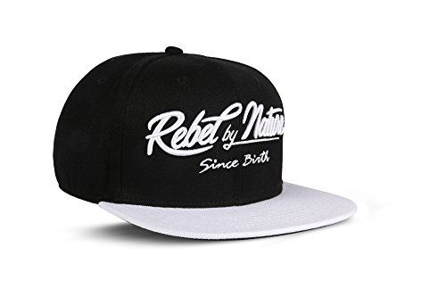 RebelByNature RC2 - Snapback Cap Font Mütze Unisex Kappe Hat Sport Baseball 100% Acryl - Collection No1-6Panel ORIGINAL RebelTM - Diamond-Black