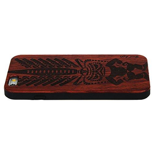 Holzhülle für iPhone 6 6S, Natürliche Handgemachte Holz aus Echtem mit Hart PC Case Schutzhülle Bumper Cover für iPhone 6 6S (4.7 Zoll), Geldschachtel Primitiver Mensch