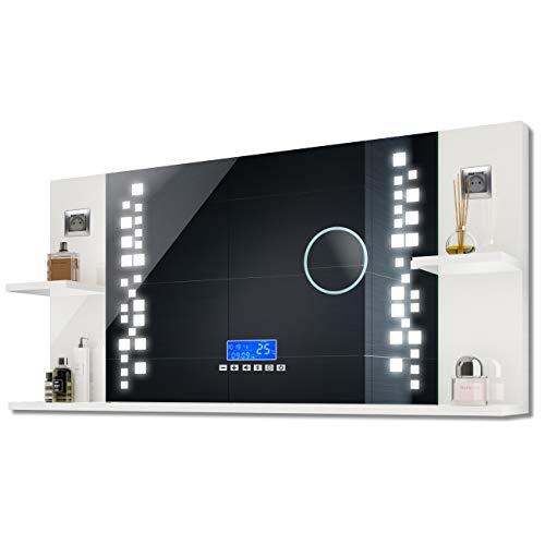 FORAM Badspiegel mit LED Beleuchtung und 3 Ablagen, Hochglanz Wandspiegel A++ | 110 x 62 x 21,6 cm | Schalter, Lautsprecher, LCD Panel | Alpines Weiß -