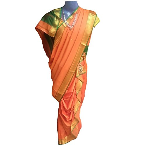 JAY VITHAI TRADITION Mastani/Peshvai Nauvari Orange Silk Saree Ready 2 Wear