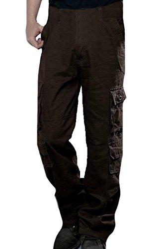 CuteRose Men Large Size Camo Multi-Pockets Chunky Slouchy Cargo Pants Coffee 28 - Cargo Convertible Shorts
