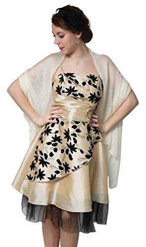 ROBLORA Damen Kleid, Einfarbig Schwarz schwarz Einheitsgröße Champagne
