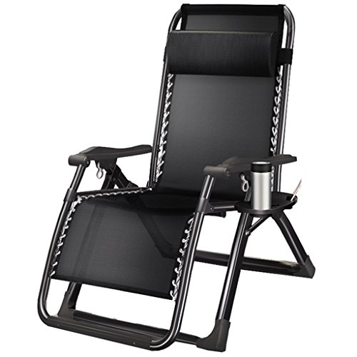 Reclining Garden Stuhl Recliners Verstärkung Klappstuhl Portable Bett Klappbett Unsichtbare Bett Siesta Stuhl Büro Lunch Stuhl Outdoor Beach Chair mit Schwarzen Textilene und Cup Holders (Beach-chair-position 4)