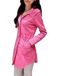 Yasong Women's Long Sleeve Hooded Zip Up Blouson Waist Drawstring Wind Coat Jacket