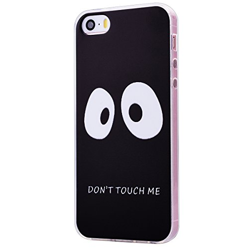 Coque iPhone SE / 5S / 5 , We Love Case Cristal Transparent Gel TPU Silicone Case Ultra Mince Flexible Back Cover Strass Case Bumper Résistant Étui de Protection Pochette Caoutchouc Cas Couverture Arr Don't Touch Me