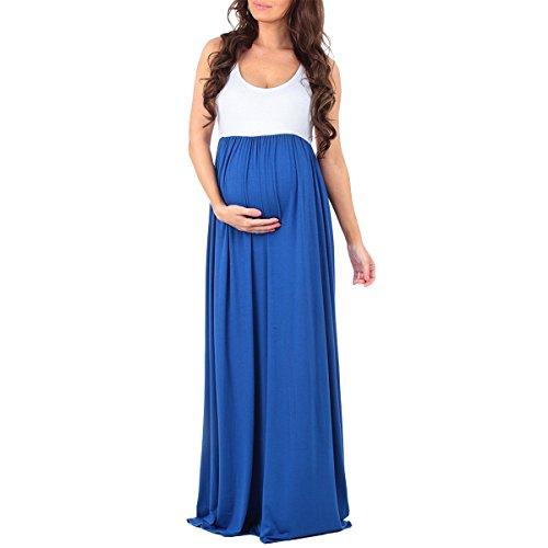 OBEEII Umstandskleid Elegante Schwangerschaftskleid Damen Fotoshooting Mutterschaft Kleidung Ärmellos Lange Maxi Kleid Hochzeitskleid Mutterschaftskleid Fotografie Kostüm Blau XL (Cherry Baby Kostüm)