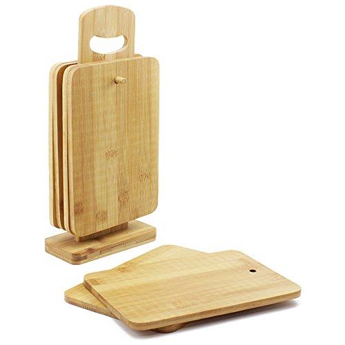 COM-FOUR® Jeu de 7 planches de petit-déjeuner, planches à découper et planches à déjeuner en bois de bambou avec support pratique, 22x15x0,8cm