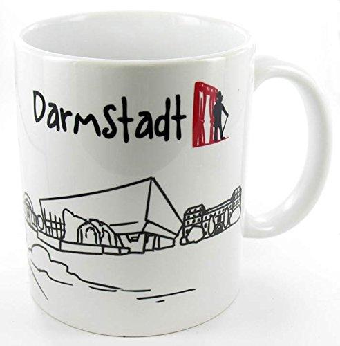 Keramiktasse 'Skyline Darmstadt' - als Geschenk für Darmstadter & Fans der Stadt des Jugendstils...