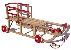 Roll Rodel Original Holzschlitten mit Rädern zum Einsatz auf Teer und Schnee...